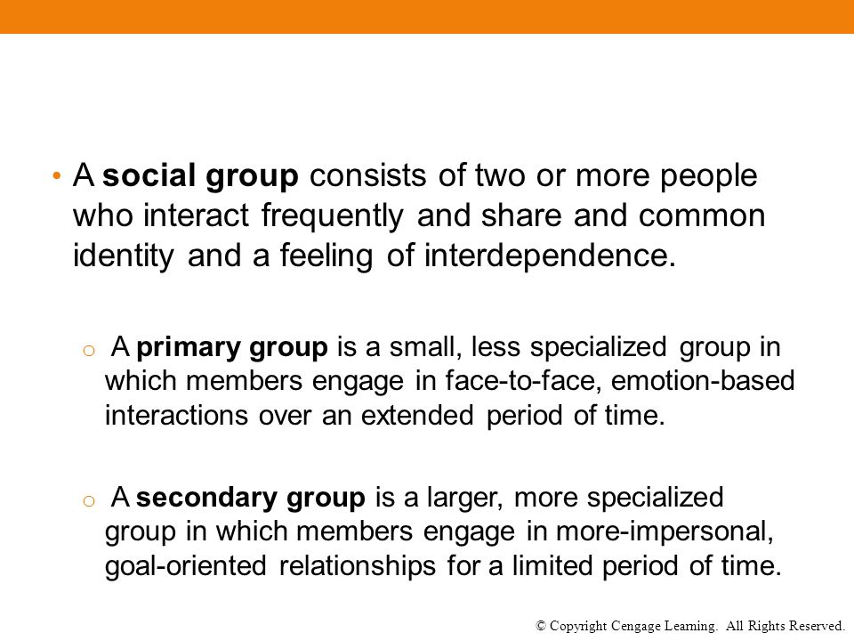 © Copyright Cengage Learning. All Rights Reserved. A social group consists of two or more people who interact frequently and share and common identity