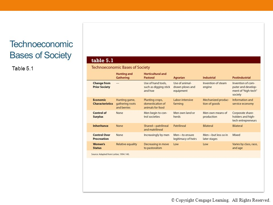 © Copyright Cengage Learning. All Rights Reserved. Technoeconomic Bases of Society Table 5.1