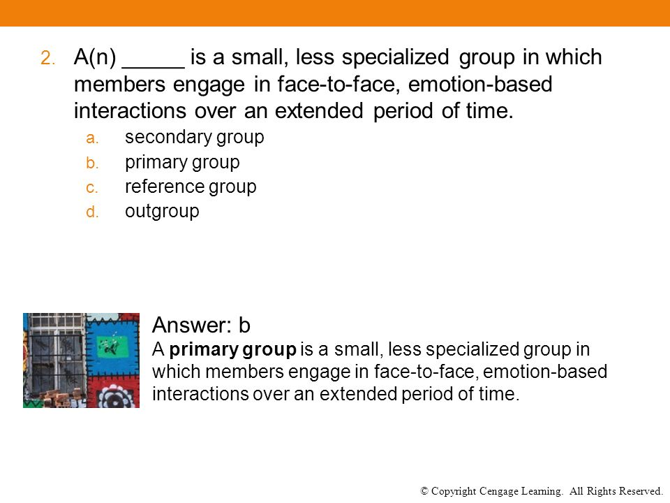 © Copyright Cengage Learning. All Rights Reserved. 2. A(n) _____ is a small, less specialized group in which members engage in face-to-face, emotion-b