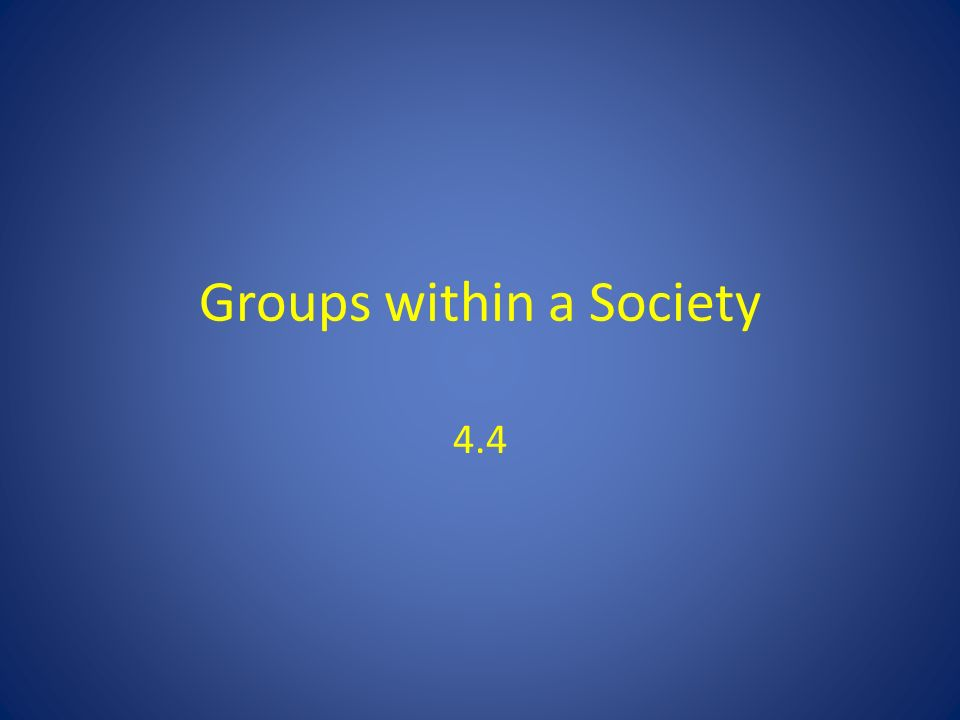 Groups within a Society 4.4