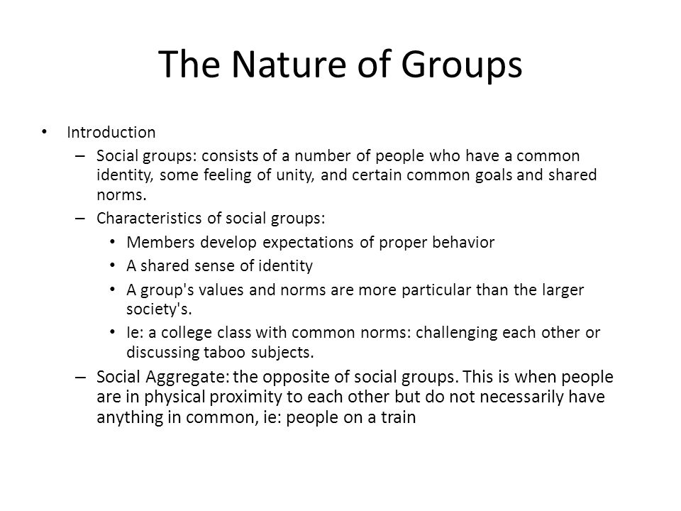 The Nature of Groups Introduction – Social groups: consists of a number of people who have a common identity, some feeling of unity, and certain common goals and shared norms.