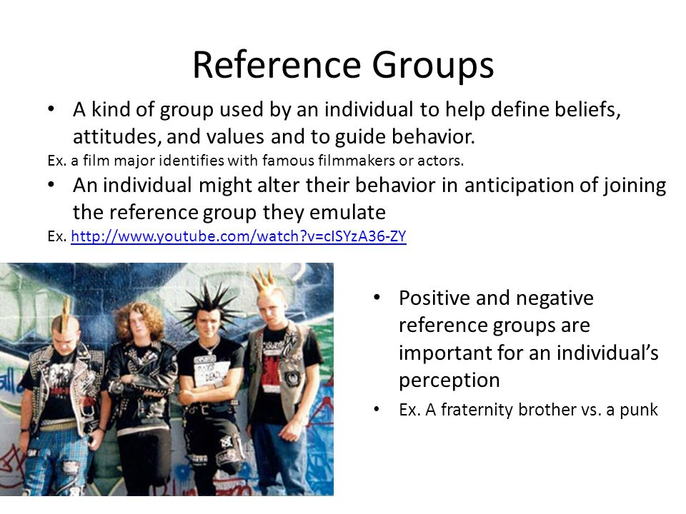 Reference Groups Positive and negative reference groups are important for an individual's perception Ex.