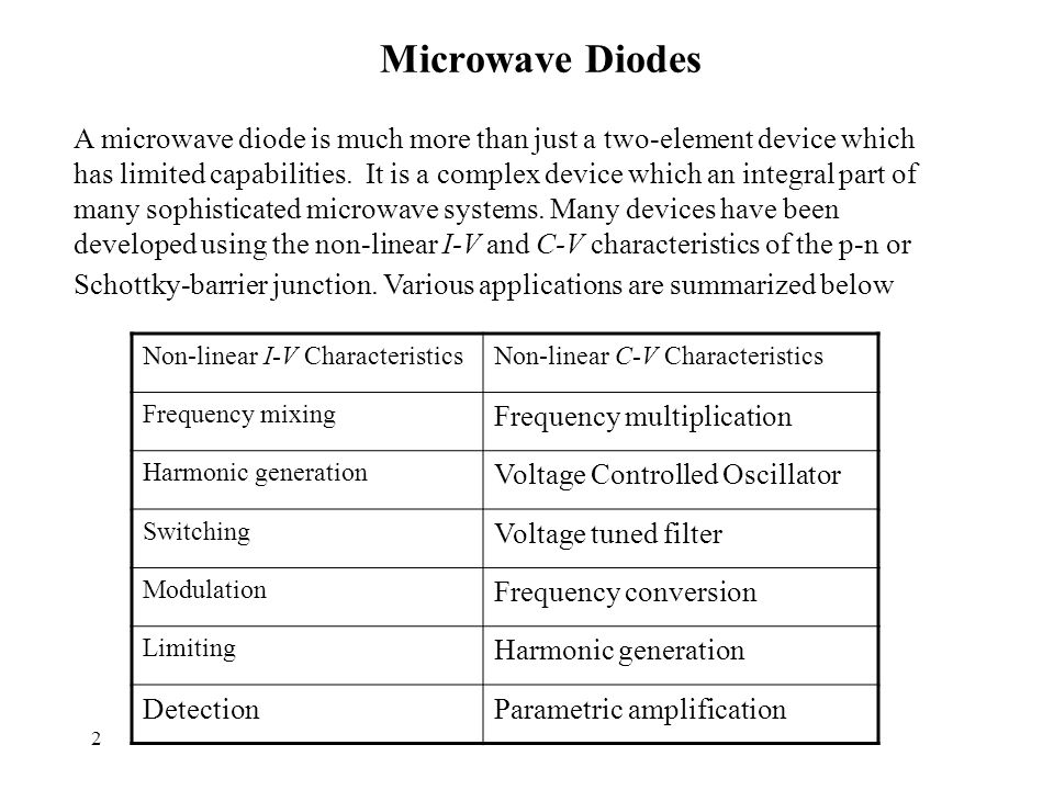 2 Microwave Diodes Non-linear C-V CharacteristicsNon-linear I-V Characteristics Frequency multiplication Frequency mixing Voltage Controlled Oscillator Harmonic generation Voltage tuned filter Switching Frequency conversion Modulation Harmonic generation Limiting Parametric amplificationDetection A microwave diode is much more than just a two-element device which has limited capabilities.