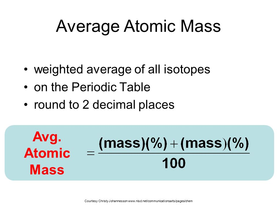 Isotopes atoms of the same element with different mass numbers average atomic mass weighted average of all isotopes on the periodic table round to 2 decimal urtaz Choice Image