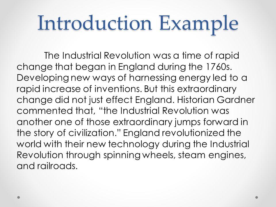 Industrial revolution essay example