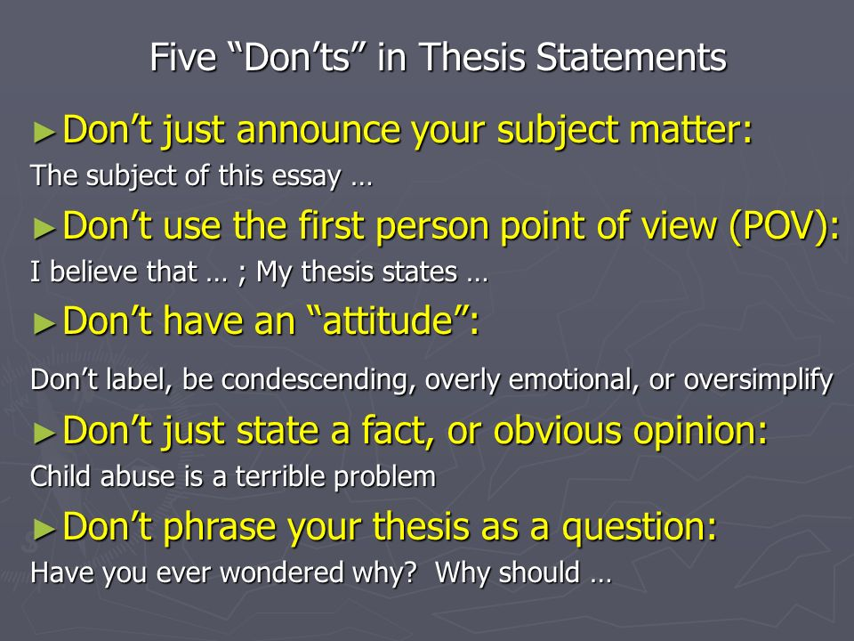 phrasing a thesis statement Thesis statement model #2: thesis with concession notice that this model makes a concession by addressing an argument from the opposing viewpoint first, and then uses the phrase even though and states the writer's opinion/main idea as a rebuttal.