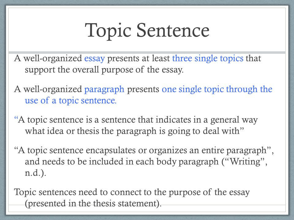 Paragraph Organization. Topic Sentence A well-organized essay ...