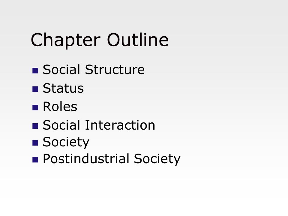 Chapter Outline Social Structure Status Roles Social Interaction Society Postindustrial Society