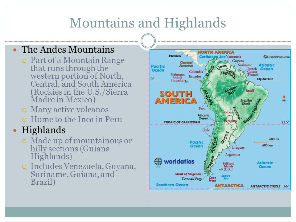 map of latin america central and south america 3 mountains
