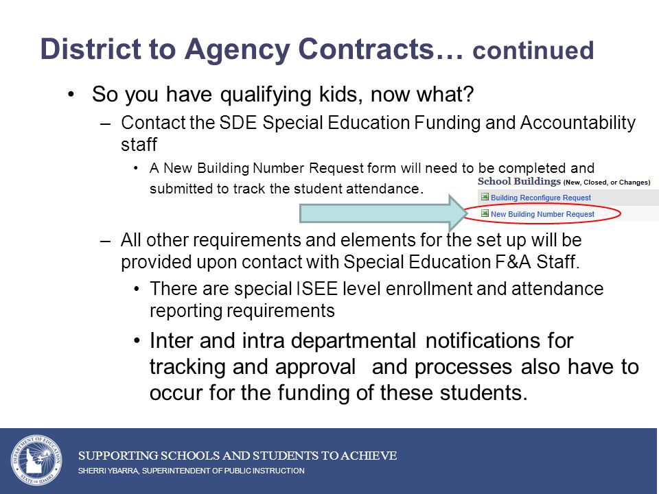 District to Agency Contracts… continued So you have qualifying kids, now what.