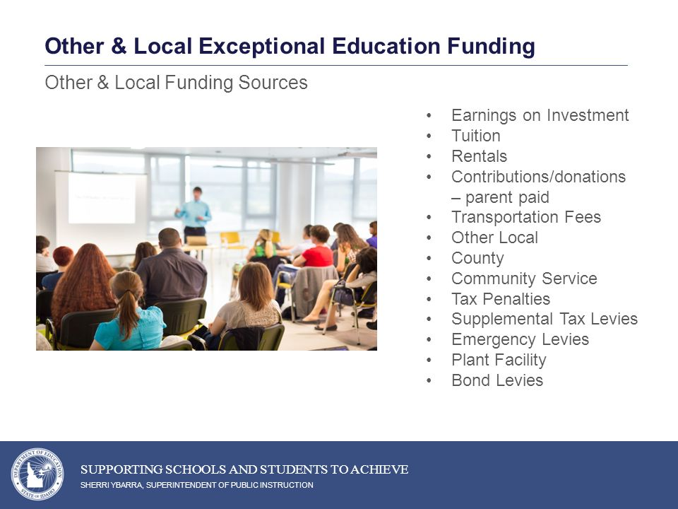 Earnings on Investment Tuition Rentals Contributions/donations – parent paid Transportation Fees Other Local County Community Service Tax Penalties Supplemental Tax Levies Emergency Levies Plant Facility Bond Levies SHERRI YBARRA, SUPERINTENDENT OF PUBLIC INSTRUCTION SUPPORTING SCHOOLS AND STUDENTS TO ACHIEVE Other & Local Funding Sources Other & Local Exceptional Education Funding