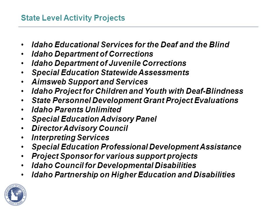 SUPPORTING SCHOOLS AND STUDENTS TO ACHIEVE Idaho Educational Services for the Deaf and the Blind Idaho Department of Corrections Idaho Department of Juvenile Corrections Special Education Statewide Assessments Aimsweb Support and Services Idaho Project for Children and Youth with Deaf-Blindness State Personnel Development Grant Project Evaluations Idaho Parents Unlimited Special Education Advisory Panel Director Advisory Council Interpreting Services Special Education Professional Development Assistance Project Sponsor for various support projects Idaho Council for Developmental Disabilities Idaho Partnership on Higher Education and Disabilities State Level Activity Projects