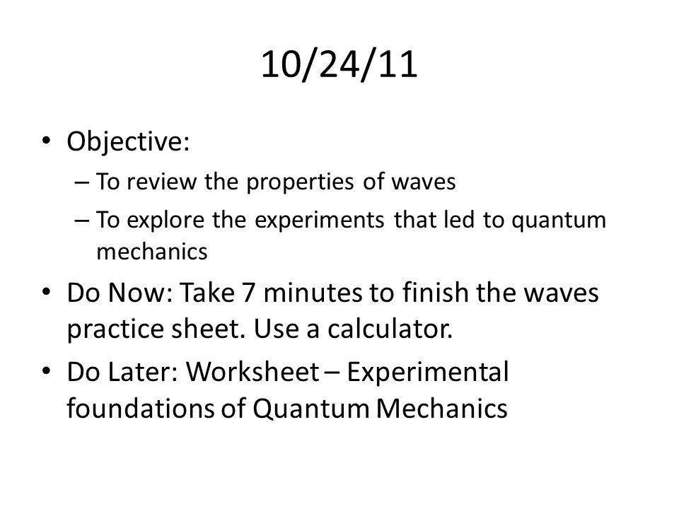 Quantum mechanics worksheet - Quantum Mechanics Worksheets Wave ...