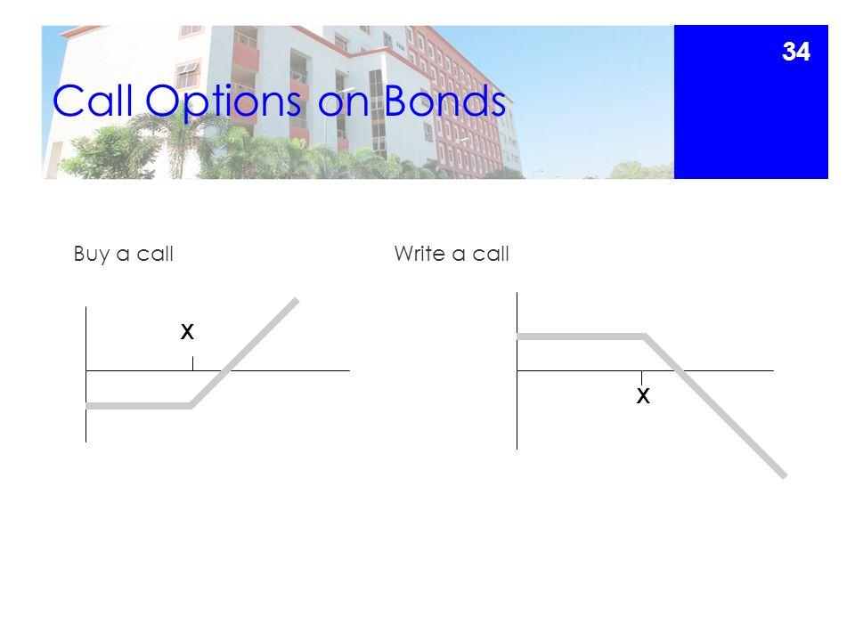 Call Options on Bonds Buy a callWrite a call X X 34