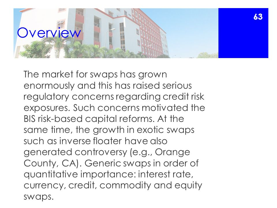 Overview The market for swaps has grown enormously and this has raised serious regulatory concerns regarding credit risk exposures.