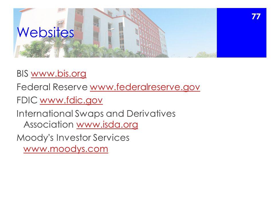 Websites BIS www.bis.orgwww.bis.org Federal Reserve www.federalreserve.govwww.federalreserve.gov FDIC www.fdic.govwww.fdic.gov International Swaps and Derivatives Association www.isda.orgwww.isda.org Moody ' s Investor Services www.moodys.com www.moodys.com 77