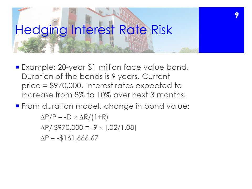 Hedging Interest Rate Risk  Example: 20-year $1 million face value bond.