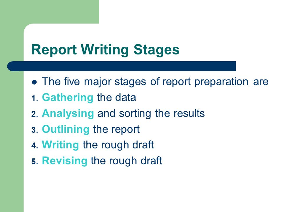 report writing and presentation of data