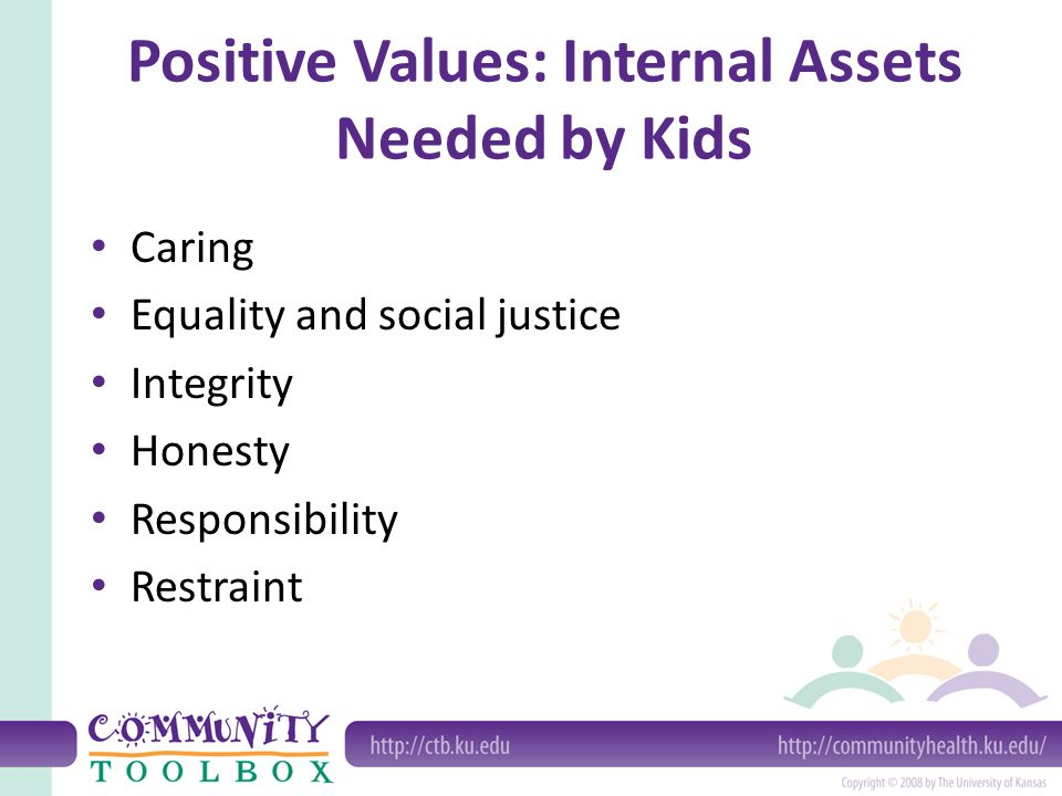 Positive Values: Internal Assets Needed by Kids Caring Equality and social justice Integrity Honesty Responsibility Restraint