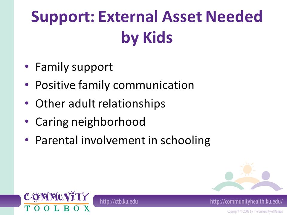 Support: External Asset Needed by Kids Family support Positive family communication Other adult relationships Caring neighborhood Parental involvement in schooling