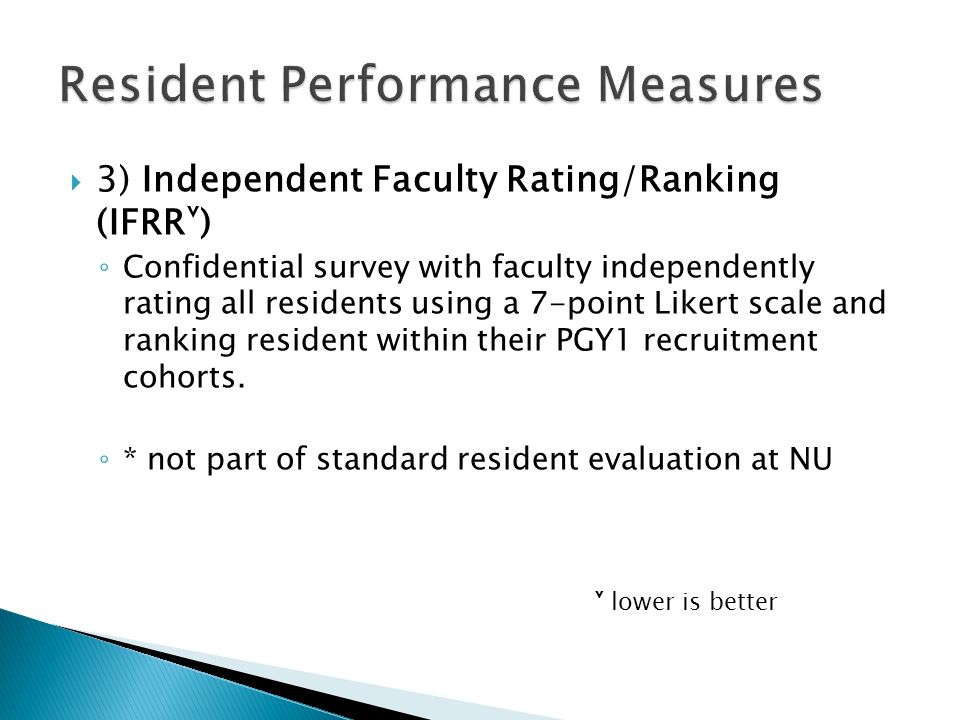  3) Independent Faculty Rating/Ranking (IFRR˅) ◦ Confidential survey with faculty independently rating all residents using a 7-point Likert scale and ranking resident within their PGY1 recruitment cohorts.