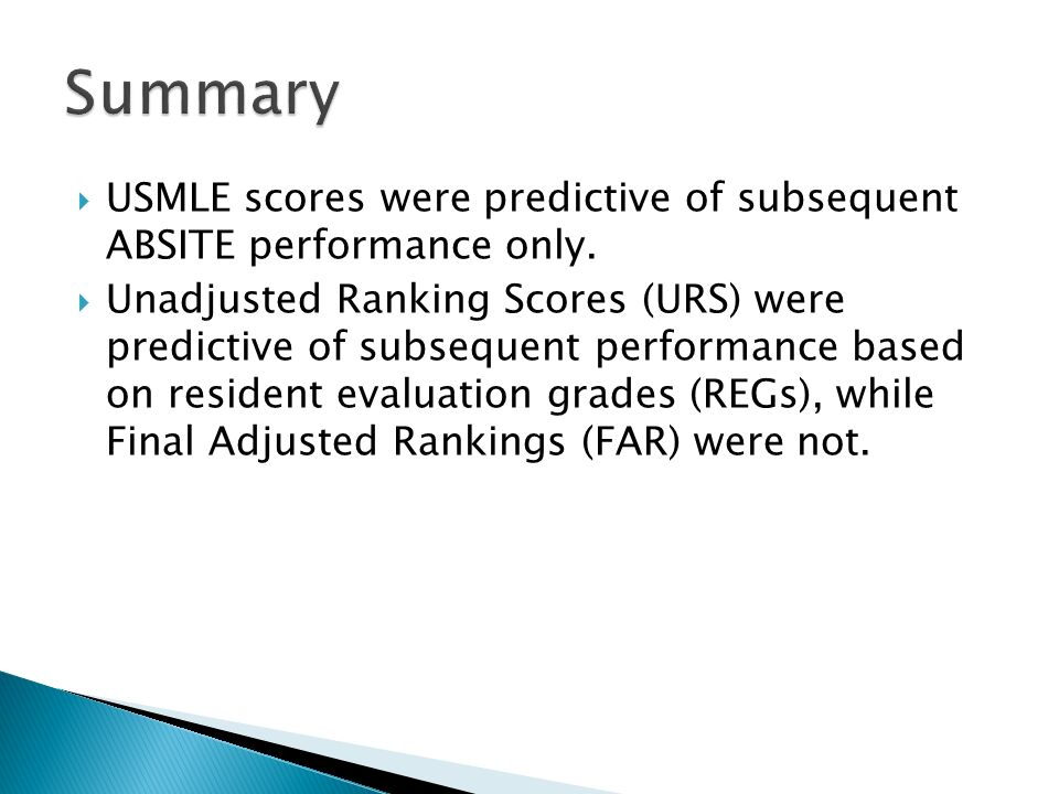  USMLE scores were predictive of subsequent ABSITE performance only.