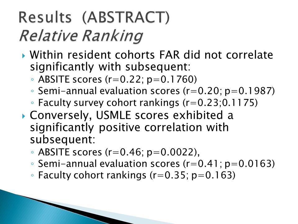  Within resident cohorts FAR did not correlate significantly with subsequent: ◦ ABSITE scores (r=0.22; p=0.1760) ◦ Semi-annual evaluation scores (r=0.20; p=0.1987) ◦ Faculty survey cohort rankings (r=0.23;0.1175)  Conversely, USMLE scores exhibited a significantly positive correlation with subsequent: ◦ ABSITE scores (r=0.46; p=0.0022), ◦ Semi-annual evaluation scores (r=0.41; p=0.0163) ◦ Faculty cohort rankings (r=0.35; p=0.163)