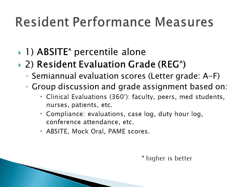  1) ABSITE˄ percentile alone  2) Resident Evaluation Grade (REG˄) ◦ Semiannual evaluation scores (Letter grade: A-F) ◦ Group discussion and grade assignment based on:  Clinical Evaluations (360°): faculty, peers, med students, nurses, patients, etc.
