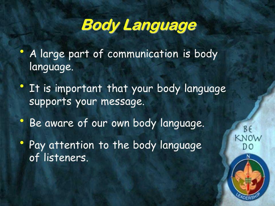 Body Language A large part of communication is body language.