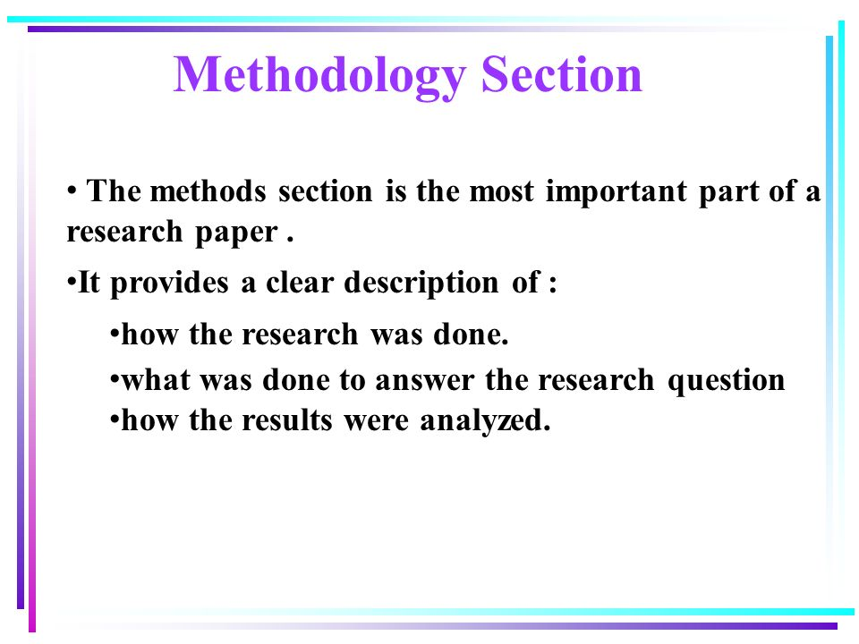 Method section of a research paper