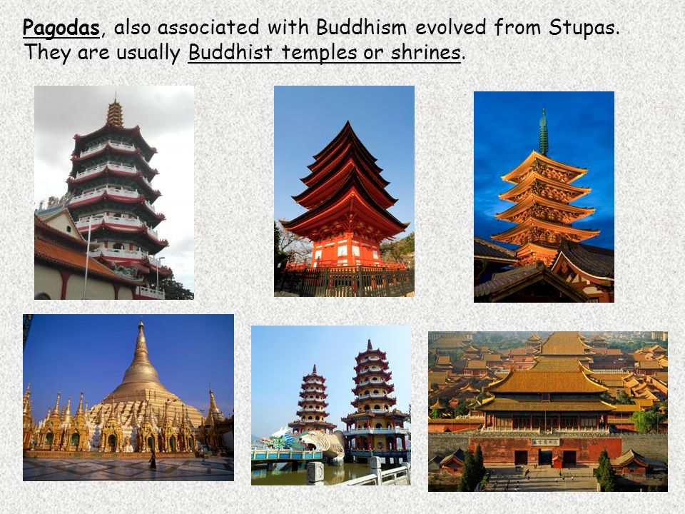 Pagodas, also associated with Buddhism evolved from Stupas.