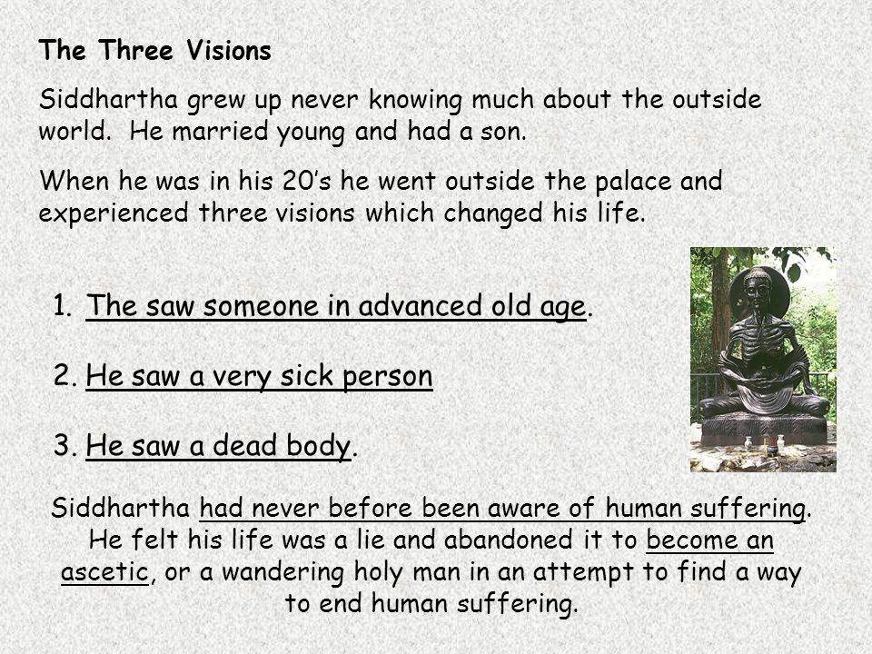 The Three Visions Siddhartha grew up never knowing much about the outside world.