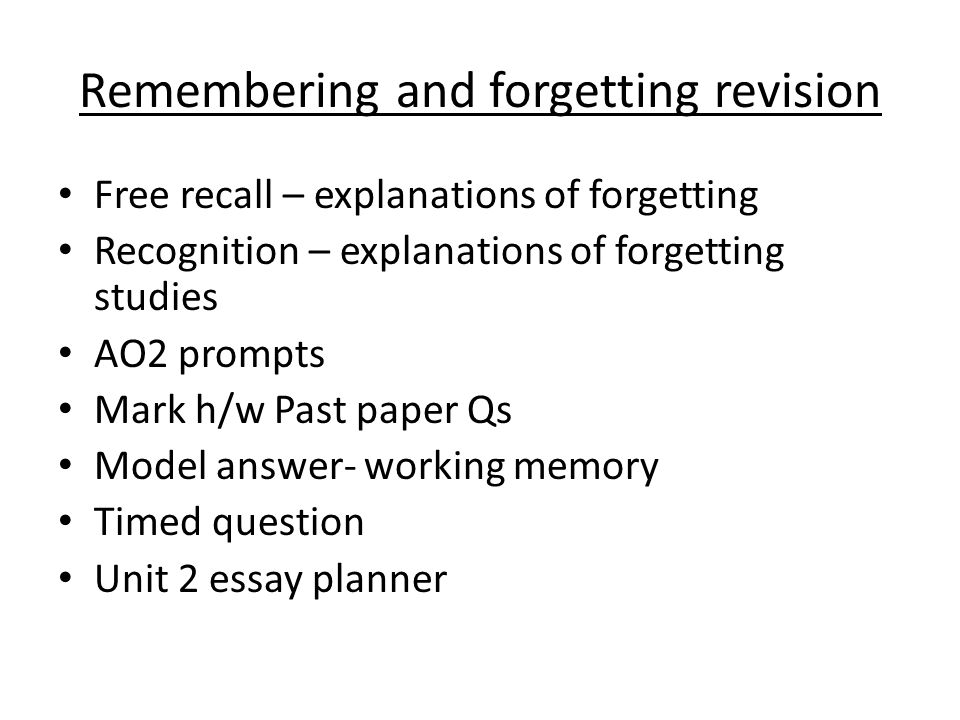 explanations of forgetting in short term