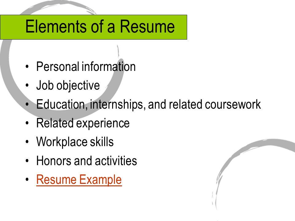 personal information resume sample