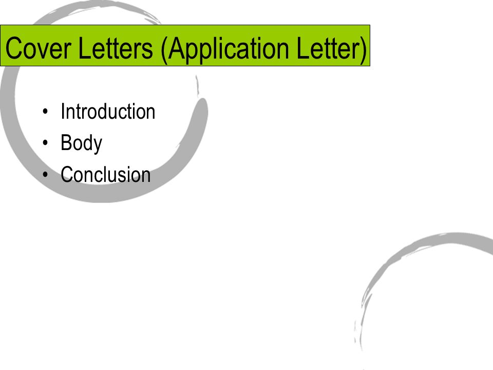 Writing a application cover letter