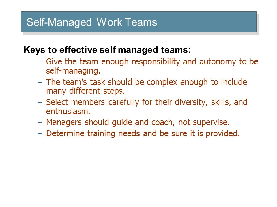 Self-Managed Work Teams Keys to effective self managed teams: –Give the team enough responsibility and autonomy to be self-managing.