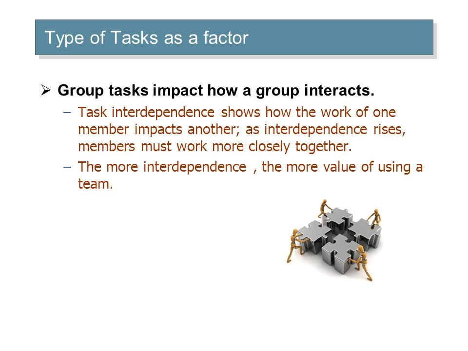 Type of Tasks as a factor  Group tasks impact how a group interacts.