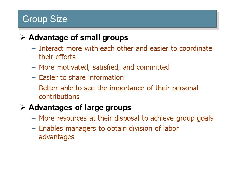 Group Size  Advantage of small groups –Interact more with each other and easier to coordinate their efforts –More motivated, satisfied, and committed –Easier to share information –Better able to see the importance of their personal contributions  Advantages of large groups –More resources at their disposal to achieve group goals –Enables managers to obtain division of labor advantages