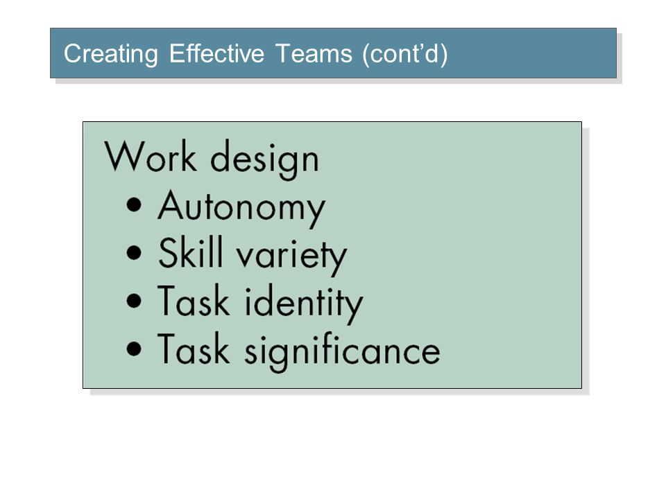 Creating Effective Teams (cont'd)
