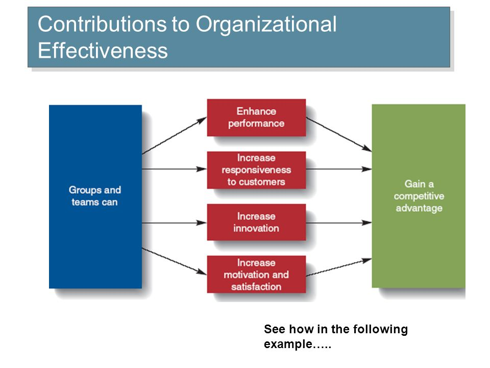 Contributions to Organizational Effectiveness See how in the following example…..