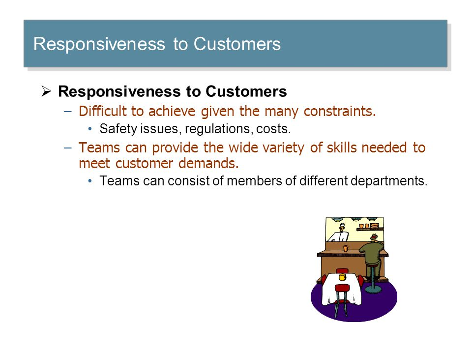 Responsiveness to Customers  Responsiveness to Customers –Difficult to achieve given the many constraints.