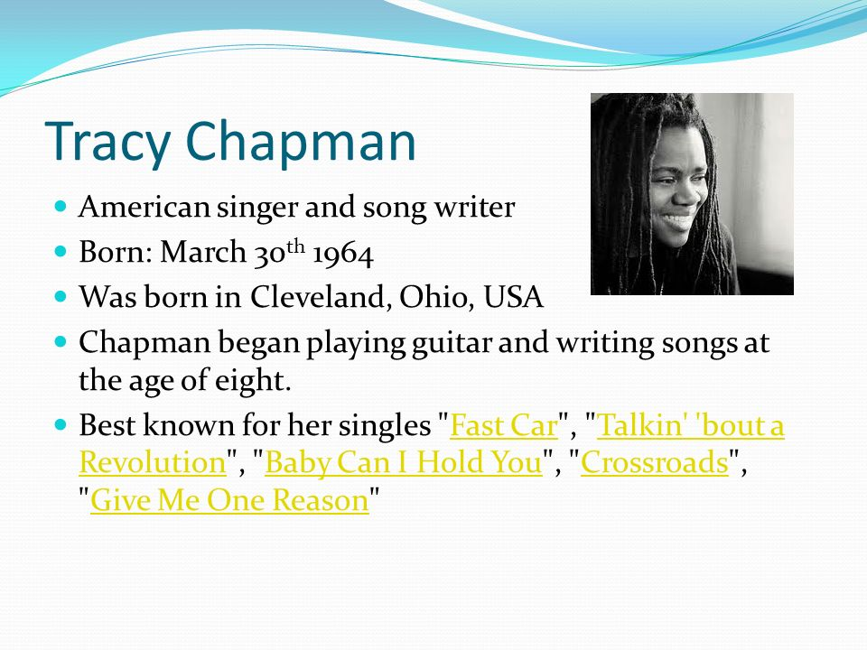 Ossishkin School High Holidays Tracy Chapman American Singer And - Tracy chapman fast car guitar