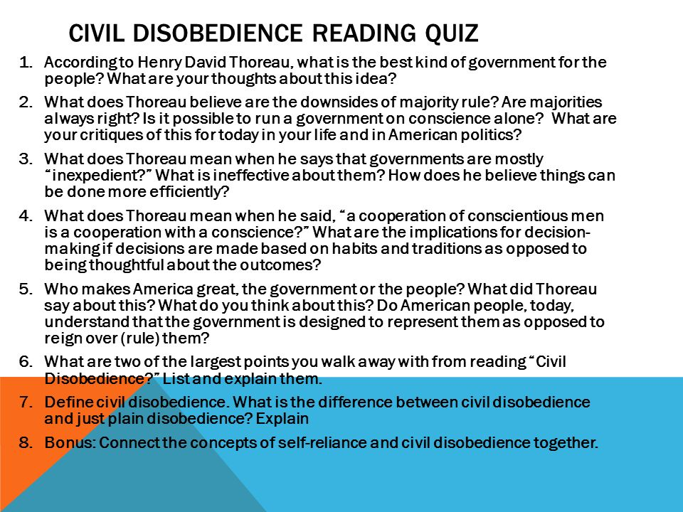 Civil disobedience/self relience project?