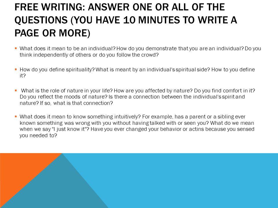 Transcendentalist Writing Question!?