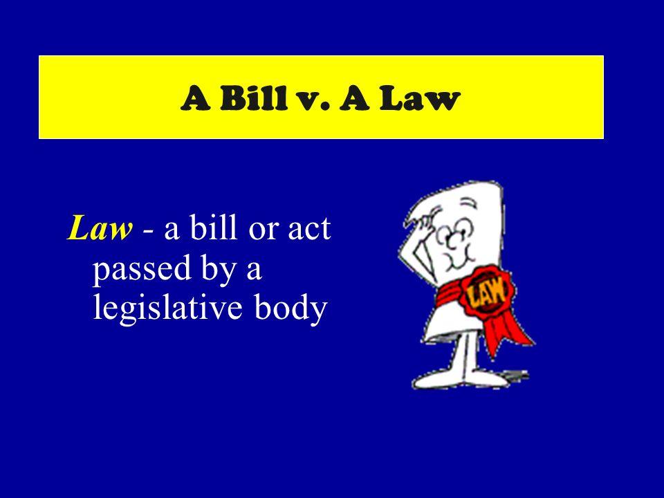 A Bill v. A Law Law - a bill or act passed by a legislative body