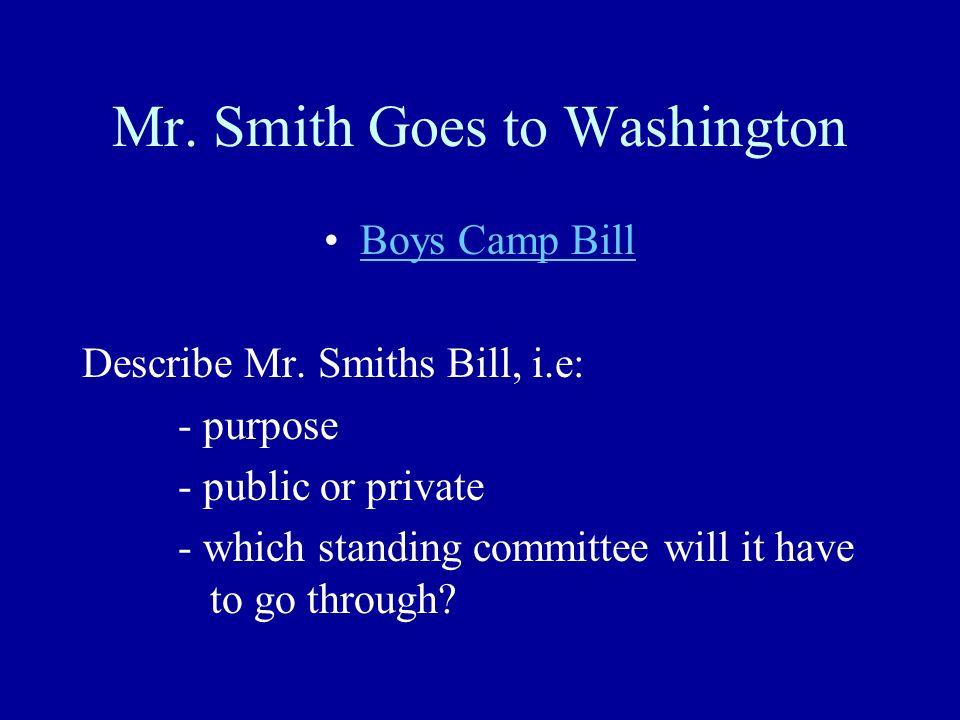 Mr. Smith Goes to Washington Boys Camp Bill Describe Mr.
