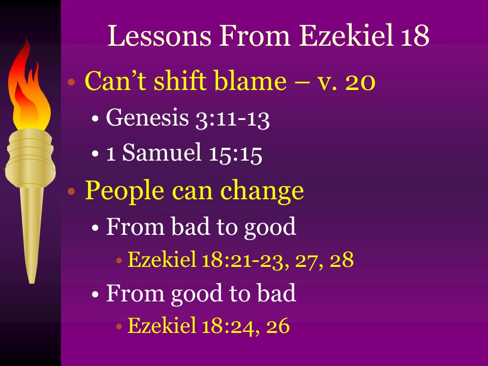 Lessons From Ezekiel 18 Can't shift blame – v.