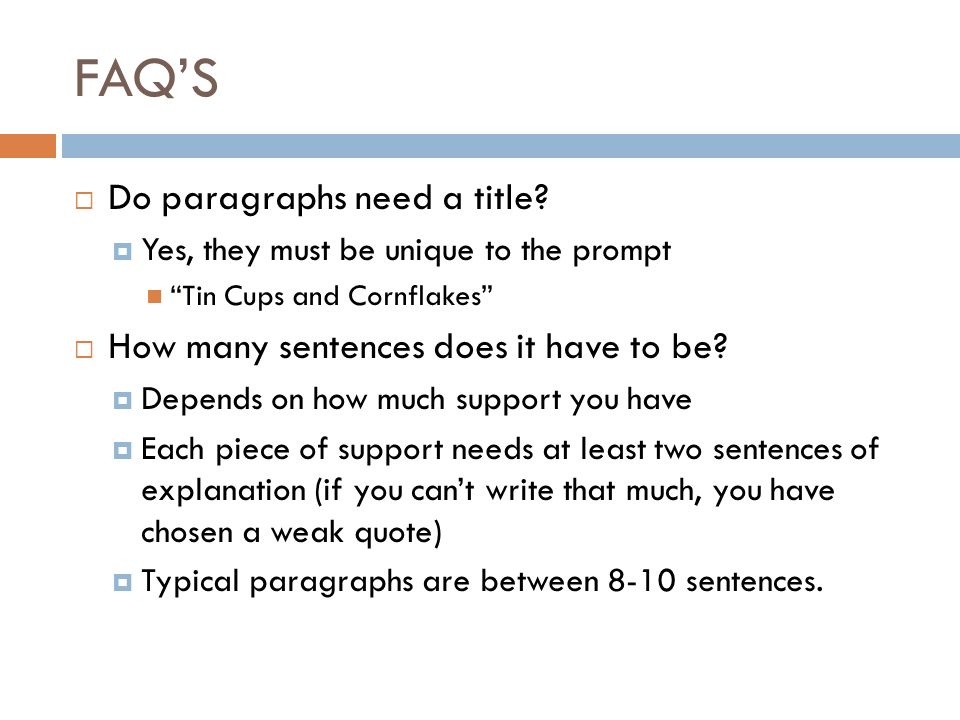 How many sentences should a paragraph contain?