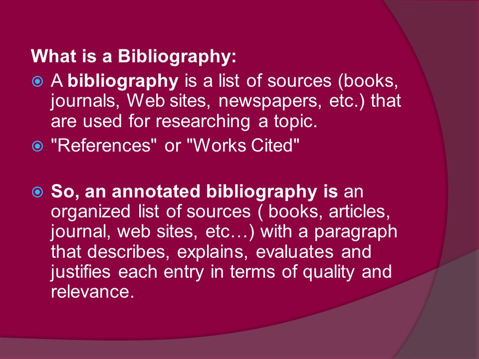 What Is A Bibliography In A Research Paper