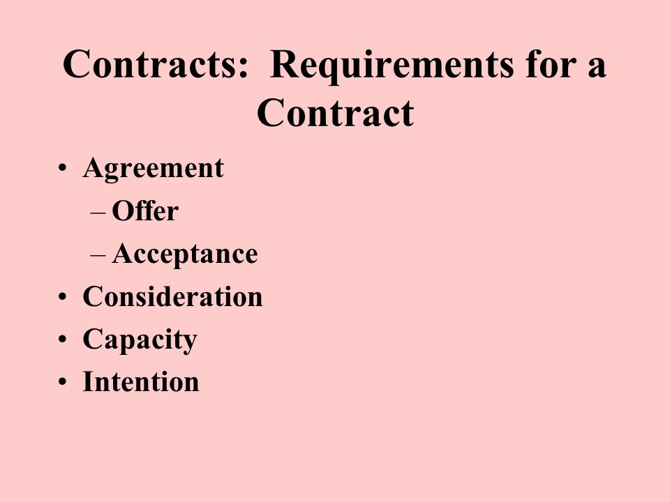 Contracts Requirements For A Contract Agreement Offer